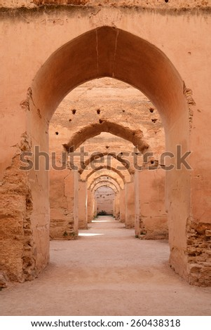 Dar El Makhzen. Sultan Moulay Ismail stables in Meknes, Morocco - stock photo