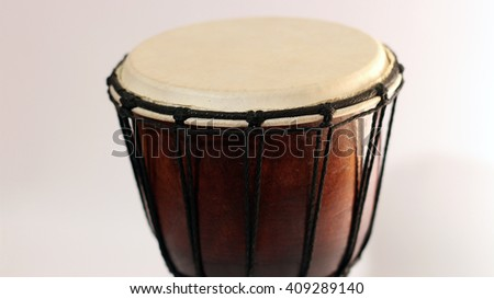 Darbuka. Percussive musical instrument from Middle East (Turkey, Egypt). Percussion and rhythm. - stock photo