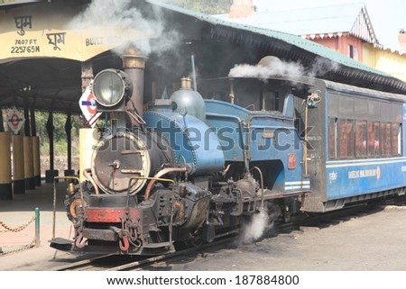 DARJEELING, INDIA - April 14: The British-built famous mountain railway, the so-called Toy Train on April 14, 2014 in Darjeeling, India. It is part of the World Heritage.