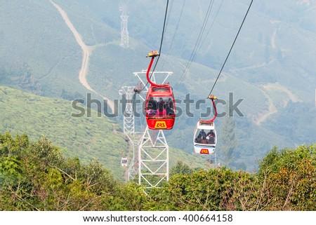 DARJEELING, INDIA - NOVEMBER 18, 2015: The Darjeeling Ropeway is a ropeway in the town of Darjeeling in the Indian state of West Bengal - stock photo