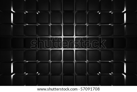 Dark abstract background with cubes and light at the back