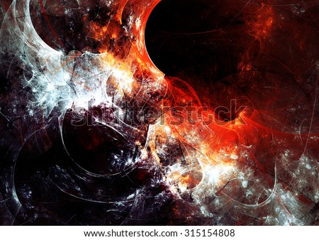 Dark abstract fiery background. Red and black color pattern. Bright texture. Modern futuristic template for wallpaper, flyer cover, poster, booklet. Fractal artwork for creative graphic design. - stock photo