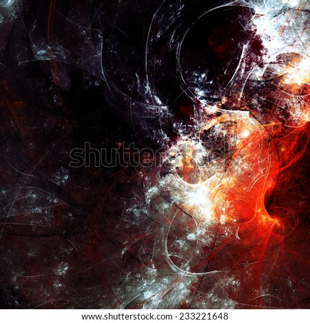 Dark abstract futuristic background. Digital artwork red and white on black. Bright texture for creativity design. Making a poster, booklet, wallpaper, cover album, flyers in gothic style. Fractal art - stock photo