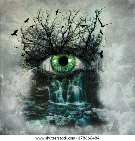 Dark abstract nature painted on female face. Mother nature crying concept - stock photo