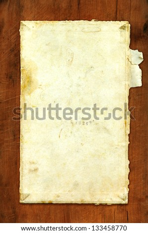 dark aged vintage paper texture on wood desk