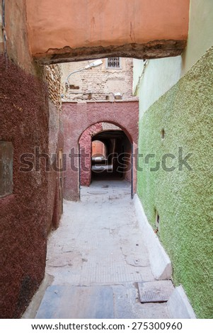 Dark Alleyways Of The Medina In Marrakech - stock photo