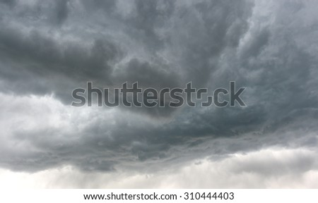 dark and dangerous grey storm clouds in sky before electrical and thunder storm in Idaho, United States