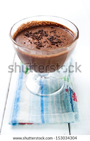Dark and delicate chocolate mousse - stock photo