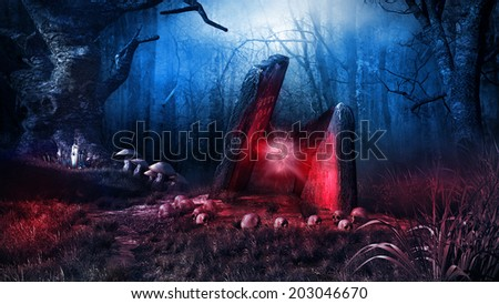 Dark and grim scene with a ruined altar