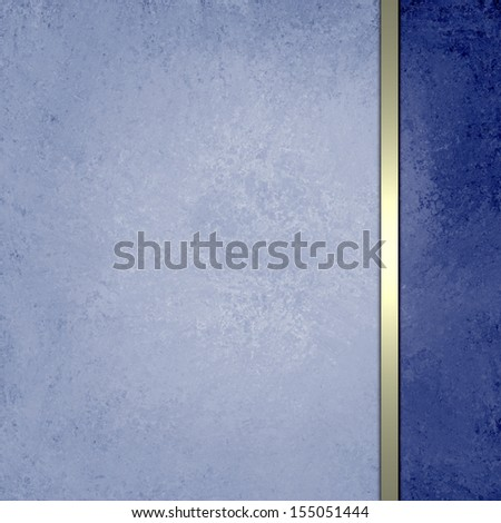 dark and light blue background, abstract sponge grunge vintage background texture design, gold ribbon stripe side bar for web layout or book cover, blue paper scrapbook page or brochure ad