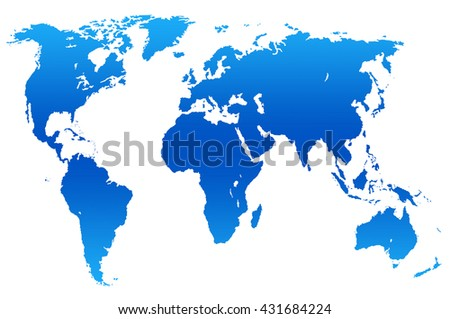 dark and light blue gradient worlds map, isolated over white
