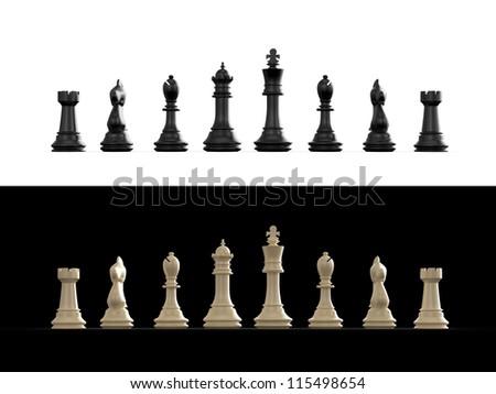 Dark and light chess set on white and black background. - stock photo