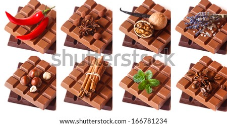 Dark and milk chocolate bars with aromatic ingredients on white. Sweet collage. - stock photo