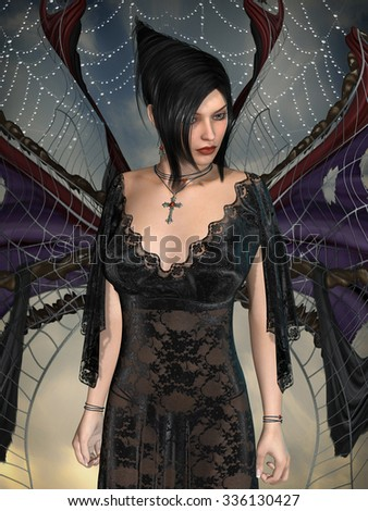 Dark angel with lace dress and wings