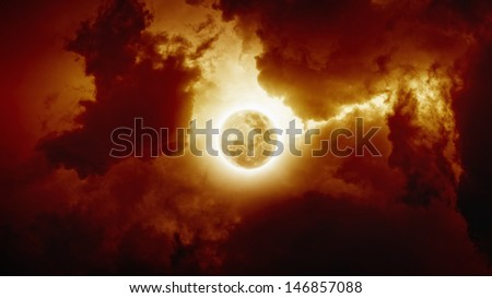 Dark apocalyptic background - red moody sky with full moon - stock photo