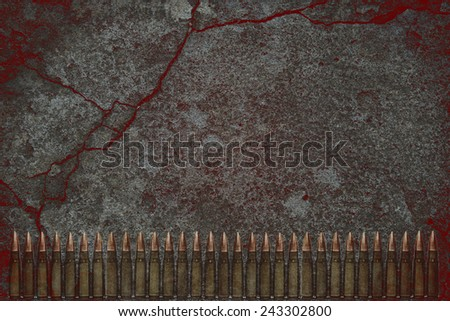 Dark background concrete ammunition and metal insert - stock photo