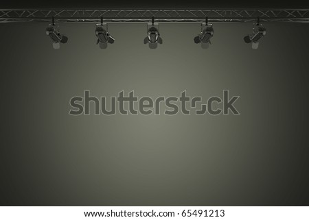 dark background with some stage lights in front - stock photo