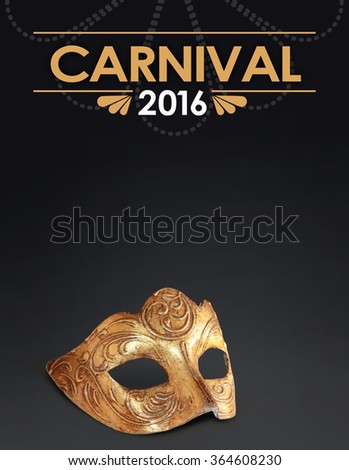 Dark background with Venetian mask for Carnival