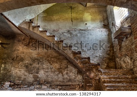 dark basement stairs. dark basement with stairs and window of an old abandoned country house Basement Stairs Stock Images  Royalty Free Vectors