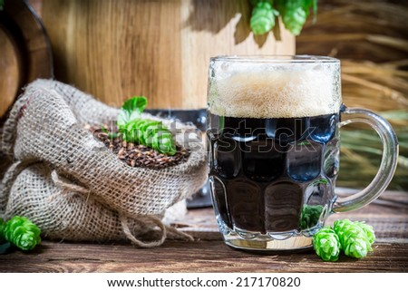 Dark beer made of malt caramel - stock photo