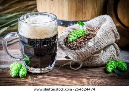 Dark beer made of malt caramel - stock photo