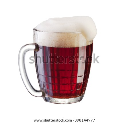 Dark beer or brew in the glass isolated on the white background