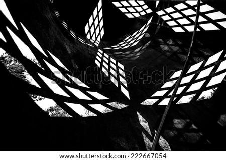 dark black and white geometric background - stock photo