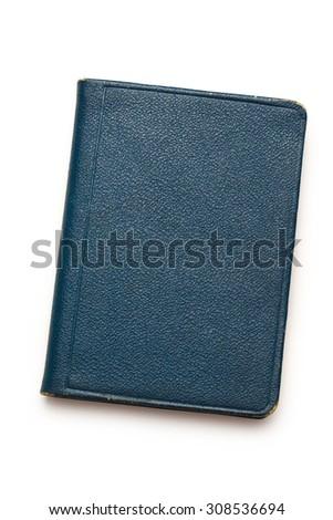 Dark blank blue notebook closed in closeup - stock photo