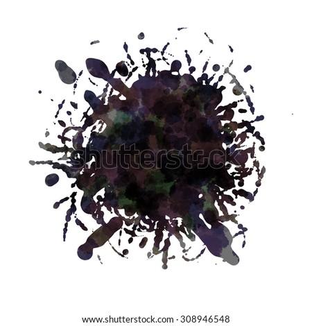 Dark blots. Blank black spot. Hand drawn. Conceptual illustration. Isolated on white background - stock photo