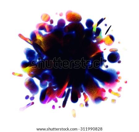 Dark blots. Hand drawn. Blank black spot. Conceptual illustration. Isolated on white background - stock photo
