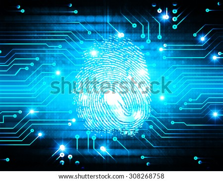 dark blue Abstract digital conceptual technology security background with lock. computer technology website internet web. infographics. fingerprint. Finger-print scanning - stock photo