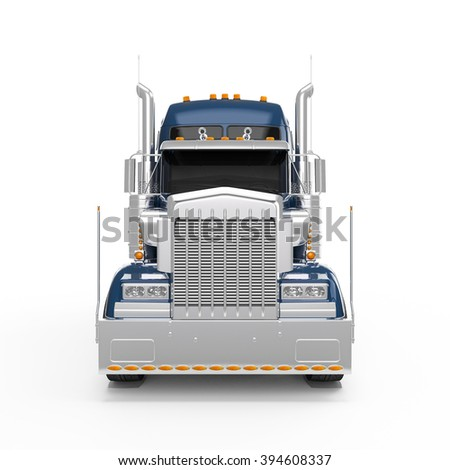 Dark Blue american truck front view isolated on white background