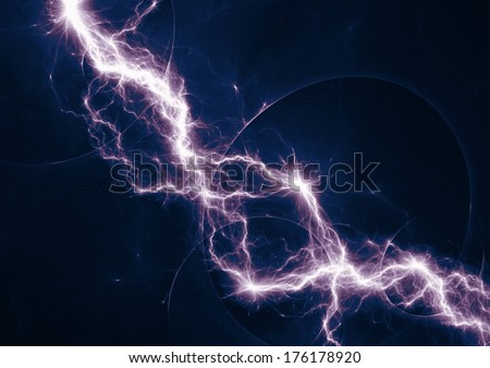 Dark blue and purple fantasy lightning - stock photo