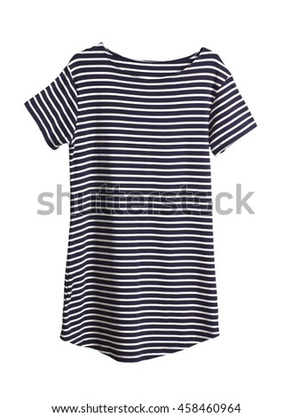 Dark blue and white striped women dress isolated on white background