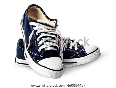 Dark blue athletic shoes on each other isolated on white background