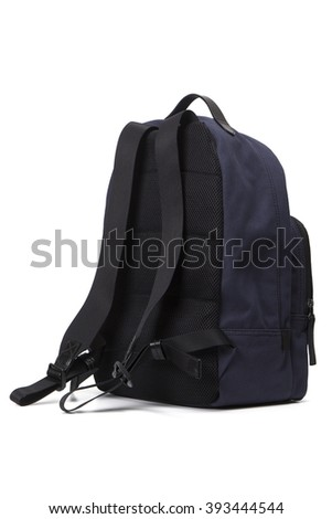 Dark blue backpack on a white background