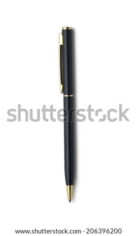 Dark blue ballpoint pen isolated on white background with clipping path. Above view. - stock photo