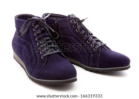 dark blue boots on a white background