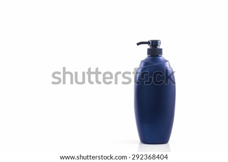 Dark blue bottle on a white background, for shampoo of washing of the head and hair, hygiene and health of hair.