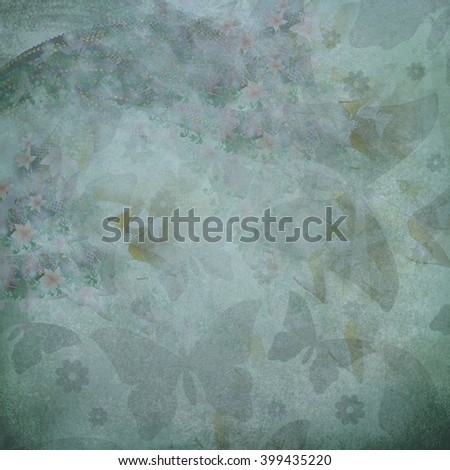 dark blue butterflies flowers pattern - stock photo