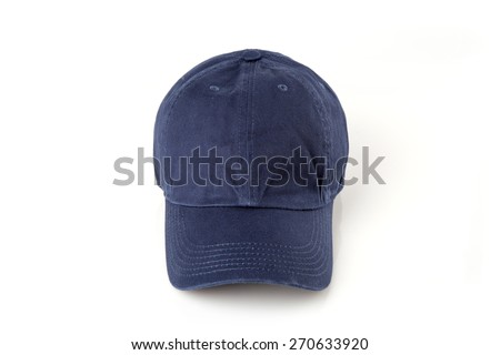Dark blue cap on the head ready for branding. - stock photo