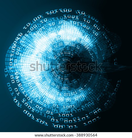 dark blue Circle wave illustration of technology internet network computer background with binary number, style. infographics. Information. motion blur. pixel. Binary digit. number. web wabsite tech
