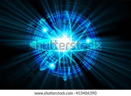 Dark blue color Light Abstract Technology background for computer graphic website internet.circuit. illustration. Nuclear, proton, neutron, nucleus. atom molecular. atom sign. Spark - stock photo