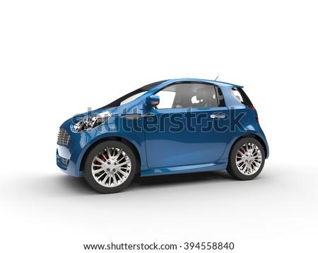 Dark Blue Compact Car - Glossy Paint - stock photo