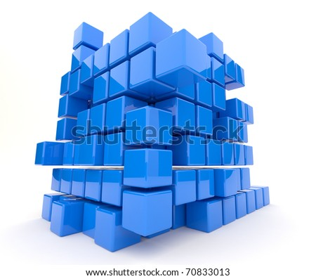 Dark blue cubes 3D. Isolated