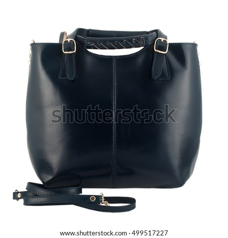 dark blue female leather handbag isolated on a white background