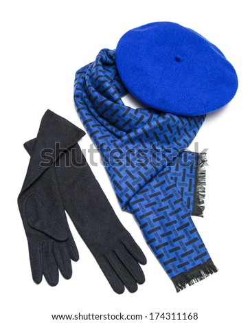 Dark blue female scarf, beret and black woolen gloves  isolated on white background - stock photo