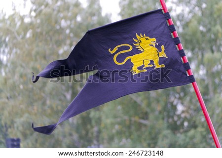 Dark blue flag with a golden dragon. - stock photo