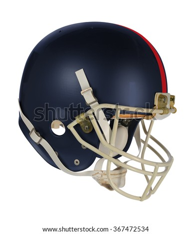 Dark blue football helmet isolated over white background - With clipping path