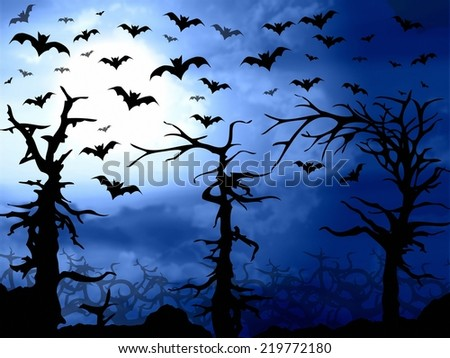 dark blue forest with bats scary halloween background - stock photo